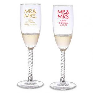 Mr. & Mrs.-Block Personalized Twisted Champagne Flutes image