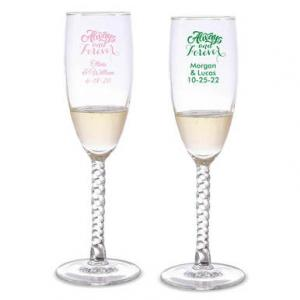 Always & Forever Personalized Twisted Champagne Flutes image
