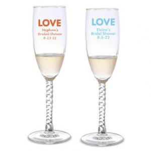 Love Lights Personalized Twisted Champagne Flutes image