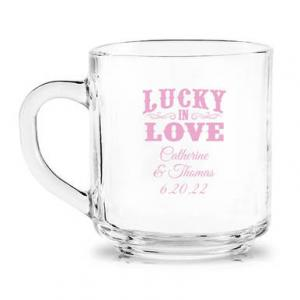 Lucky in Love Personalized Glass Coffee Mug image
