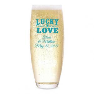 Lucky in Love Personalized Stemless Champagne Flute image