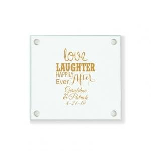 Love Laughter Happily Ever After Personalized Coaster image