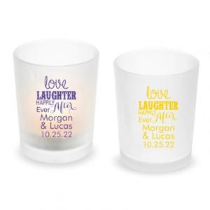 Love Laughter Happily Ever After Personalized Frosted Glass image
