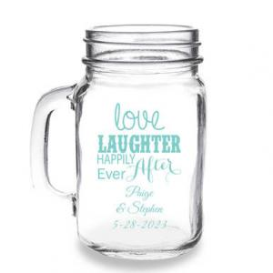 Love Laughter Happily Ever After Personalized 16 oz Mason Ja image