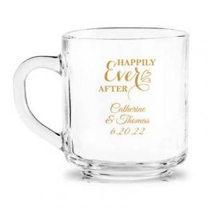 Happily Ever After Personalized Glass Coffee Mug image