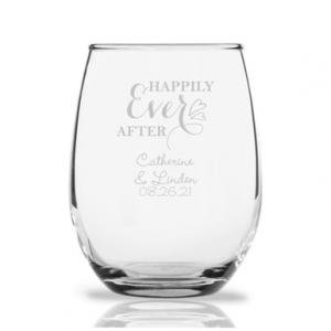 Happily Ever After Personalized 9 oz Stemless Wine Glass image