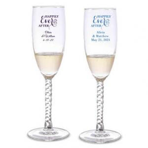 Happily Ever After Personalized Twisted Champagne Flutes image