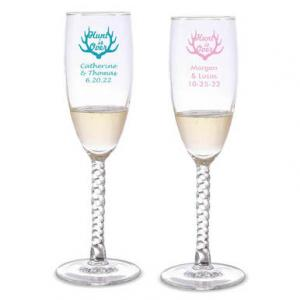 Hunt is Over Personalized Twisted Champagne Flutes image