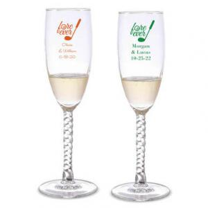 Fore Ever Personalized Twisted Champagne Flutes image