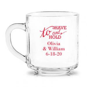 To Have & To Hold Personalized Glass Coffee Mug image