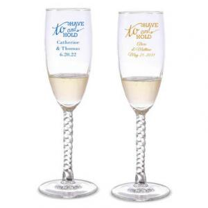 To Have & To Hold Personalized Twisted Champagne Flutes image