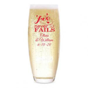 Love Never Fails Personalized Stemless Champagne Flute image