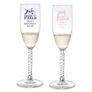 Love Never Fails Personalized Twisted Champagne Flutes image