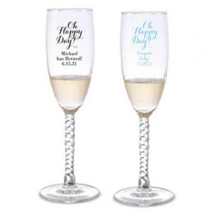 Oh Happy Day Personalized Twisted Champagne Flutes image
