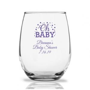 Oh Baby Personalized 9 oz Stemless Wine Glass image