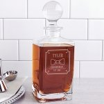 Personalized Groomsman Bow Tie Square Whiskey Decanter