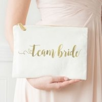 Gold Foil Team Bride or Bride Canvas Clutch
