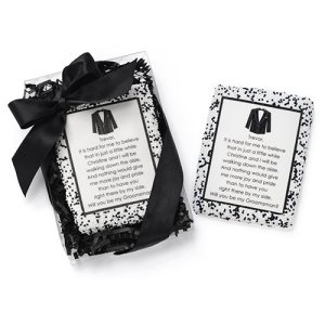 Wedding Party Proposal Edible Cookie Card Tuxedo Edition image