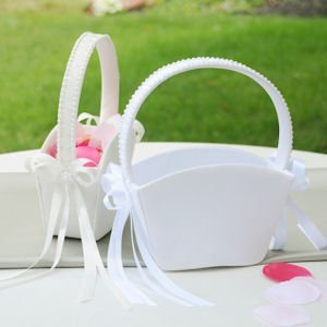 Satin Flower Girl Basket Tote - White or Ivory image