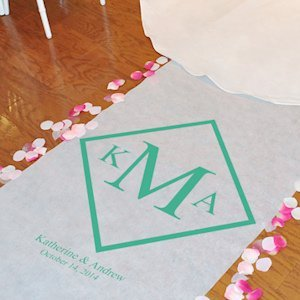 Diamond Monogrammed Aisle Runners for Weddings (20 Colors) image