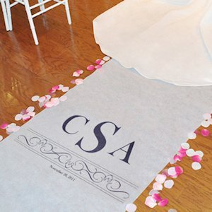 Vintage Scroll Personalized Bridal Runners (17 Colors) image