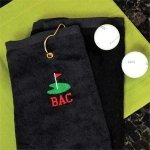 Personalized Black Golf Towel