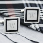 Black Border Engraved Initial Cuff Links