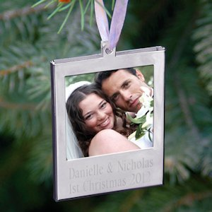 Personalized Polished Steel Photo Ornament image