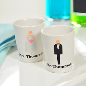 Bride and Groom Personalized Shot Glasses image