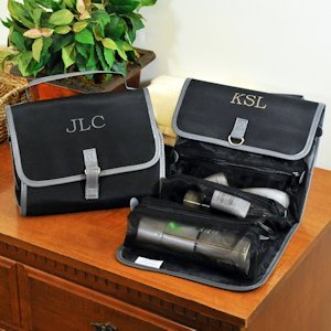 Personalized Black Micro Fiber Toiletry Bag for Men image