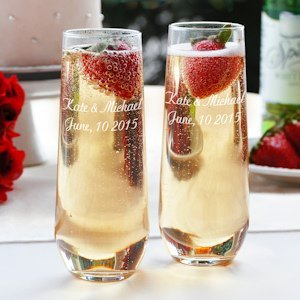 Engraved Stemless Flute Glasses for Champagne (Set of 2) image