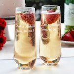 Engraved Stemless Flute Glasses for Champagne (Set of 2)