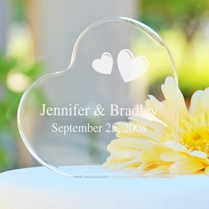 Personalized Acrylic Heart Shaped Wedding Cake Topper image