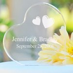 Personalized Acrylic Heart Shaped Wedding Cake Topper