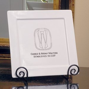 Personalized Initial Square Platter and Easel Set image