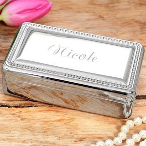Beaded Silver Personalized Jewelry Boxes for Bridesmaids image