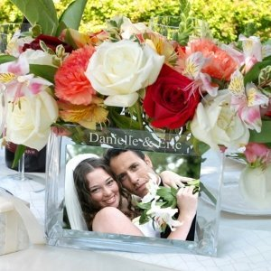 Reception Personalized Glass Photo Vase image