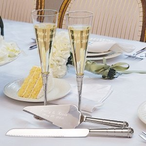 Royal Wedding Toasting Flutes & Cake Server Sets image