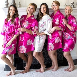 Personalized Floral Satin Robes (5 Colors) image