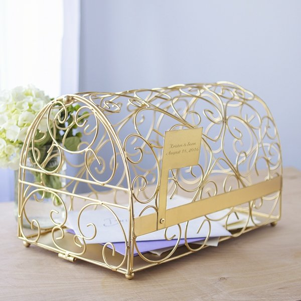 Wedding Card Boxes For Receptions: Personalized Reception Gift Card Holder (Gold Or Silver