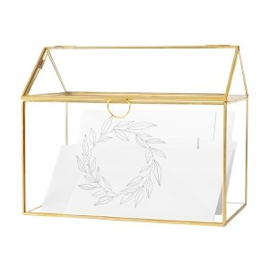 Gold Wreath Glass Terrarium Reception Gift Card Holder image