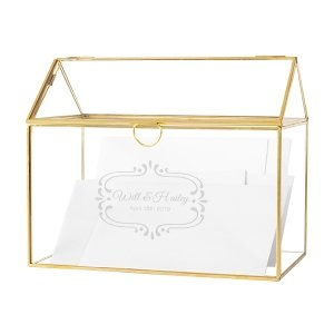 Personalized Gold Glass Terrarium Reception Gift Card Holder image