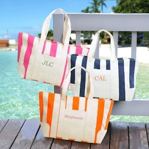 Personalized Striped Canvas Tote Bags (3 Colors) image