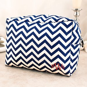 Personalized Monogram Chevron Makeup Bag (5 Colors) image