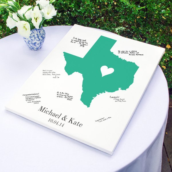 Personalized Wedding Canvas: Personalized Home State Wrapped Canvas Guest Book
