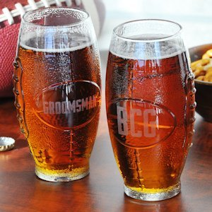 Personalized Glass Football Tumbler image