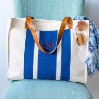 Personalized Stitched Stripe Canvas Tote (Blue or Grey)