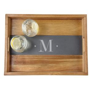 Personalized Acacia and Slate Tray image