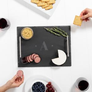 Personalized Slate Serving Tray with Metal Handles image
