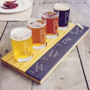 Personalized Bamboo & Slate Craft Beer Tasting Flight image